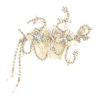 Baroque Vintage Gold Crystal Pearl Butterfly Bridal Tiara Crown Hair Ornaments Rhinestone Pageant
