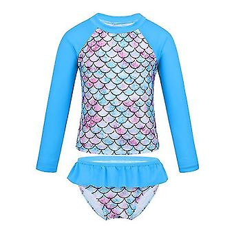 Baby Long Sleeve Fish Scales Pattern Swimwear Blue 3Years Old