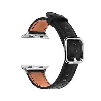 Klassieke vierkante gesp lederen horlogeband voor Apple Watch-serie Pin Buckle Strap- Zwart-38 / 40mm