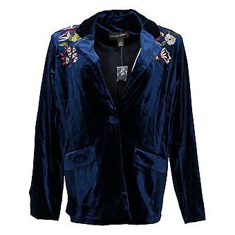 Colleen Lopez Women's Suit Jacket/Blazer Embroidments Blue 617-599