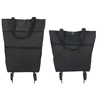 (Black) Foldable Shopping Bag on Wheel Reusable Eco-Friendly Trolley Cart Large HandbagsFoldable