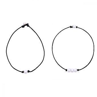 Pearl Choker, collana in pelle perle singole da 2 pezzi per regali di gioielli a donna ragazze donne