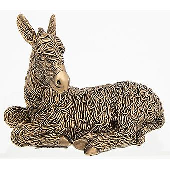 Ornamento de burro acostado de bronce