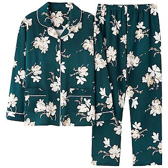 Mile Women Thin Printed Single-breasted Pajama Suit (top + Trousers)