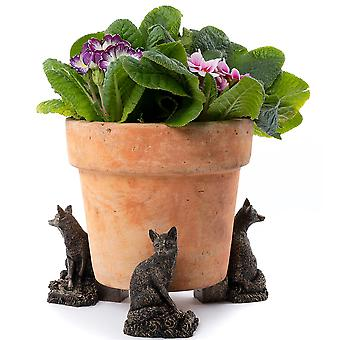 Potty Feet Decorative Fox Themed Plant Pot Feet Antique Bronze Color Set of 3