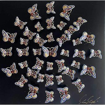 Circle Of Butterflies Wall Art--black