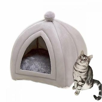 Warm In Winter, Removable And Washable Super Soft Pet Cat Litter (m Gray)