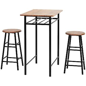 Kitchen Counter Height Dining Table Set With 2 Bar Stools