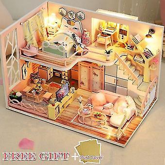 Cutebee Kinder Spielzeug Puppenhaus mit Möbeln zusammenbauen Holz Miniatur Puppenhaus DIY Puppenhaus Puzzle