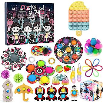 Squid Game Fidget Advent Calendar Toy Pack 2021, With Poppet Pop-on-it Box Surprise Gift