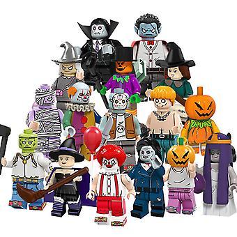 16szt Halloween Series Minifigures Pumpkin Ludzie Zombies Vampire Witch Puzzle Dzieci Montaż Building Block Zabawki