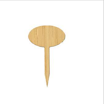 50pcs Bambus Pflanze Tags mit Marker Pen, Garten Holz Pflanze Tags Marker für Samen Topf Kräuter Blumen Gemüse (rund, 50 Stück)