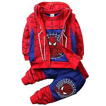 Kids Boy Spiderman Tracksuit Sweatshirt Vest Pants Outfit Set Clothes