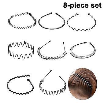Unisex Metal Hair Band, Wave Metal Pandebånd, Skridsikker Elastik Pandebånd