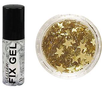 Stargazer Fix Gel lim + guld Glitter stjärnor