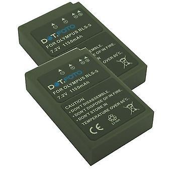 2 x Dot.Foto Olympus BLS-5, BLS-50 udskiftningsbatteri - 7.2V / 1150mAh