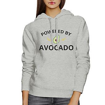 Powered By Avocado Unisex grijze Hoodie Crewneck Trendy Design Fleece