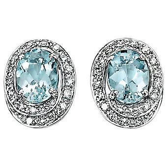 9 CT White Gold Aquamarine And Diamond Earring