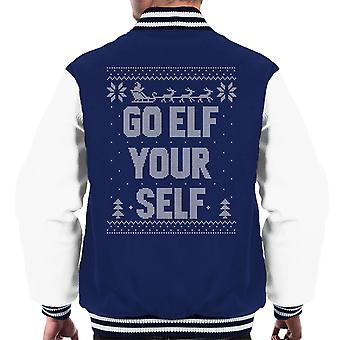 Go Elf Yourself Christmas Knit Pattern Men's Varsity Jacket