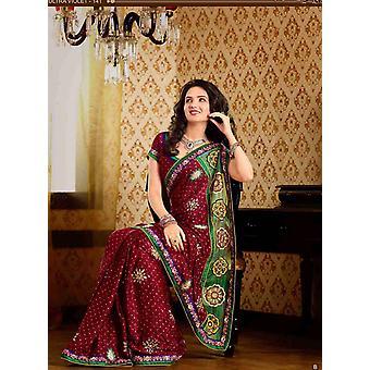 Dario Maroon Faux Crepe lusso partito indossare Sari saree