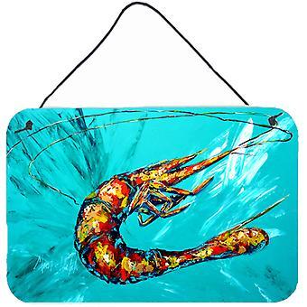 Shrimp Teal Shrimp Aluminium Metal Wall or Door Hanging Prints