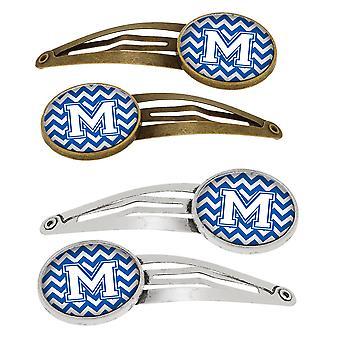 Letter M Chevron blauw en wit Set van 4 haarspeldjes Hair Clips