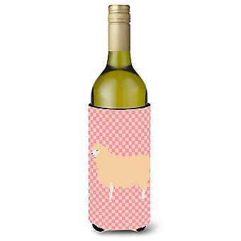 English Leicester Longwool Sheep Pink Check Wine Bottle Beverge Insulator Hugger