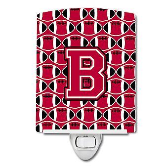 Письмо B футбола Crimson и белые керамические ночной свет