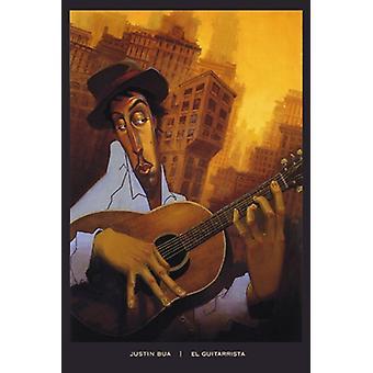 El Guitarrista affisch Skriv av Justin Bua (24 x 36)