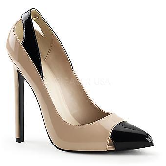 Pleaser Women's Zapatos SEXY-22 Nude-Blk Pat