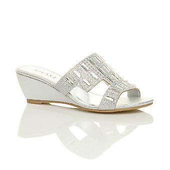 Ajvani Womens Mitte niedrigem Absatz-Keil-Peep-Toe ausgeschnitten Diamante Pantoletten Sandalen Schuhe