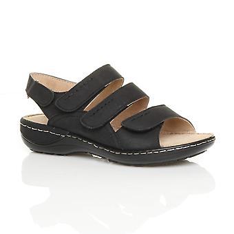 Ajvani womens low wedge heel strappy hook & loop slingback comfort sandals