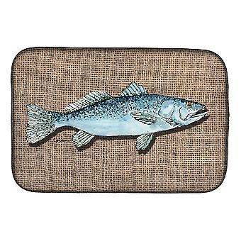 Carolines Treasures  8737DDM Fish Speckled Trout Dish Drying Mat