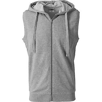 Urban classics - TERRY Hooded Zip vest grey
