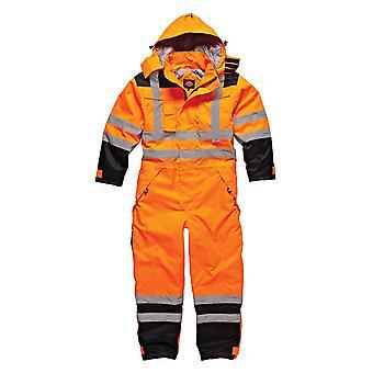 Dickies Mens werkkleding waterdicht Hi Vis veiligheid Coverall oranje Marine