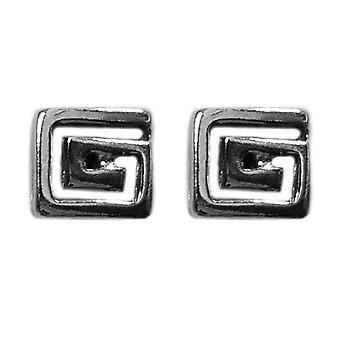 Стерлингового серебра родием серьги Стад Греческий ключ Meandros, 7 x 7 мм