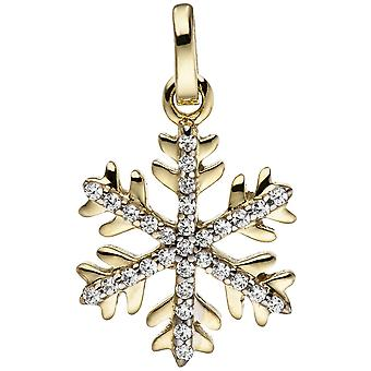 Pendant snowflake 333 gold yellow gold bicolor with cubic zirconia pendant gold