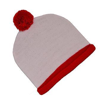 Witte en rode bobbel hoed