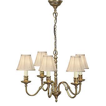 Interiors 1900 Fitzroy 5 Bulb Solid Brass Bedroom Chandelier