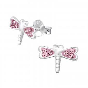 Dziewczyn różowy kryształ kolczyki ważki
