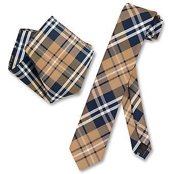 Vesuvio Napoli cravate Skinny Plaid Design Mens cravate & mouchoir