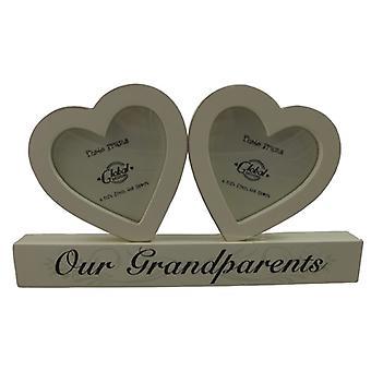 Vores bedsteforældre dobbelt hjerte træ fotoramme