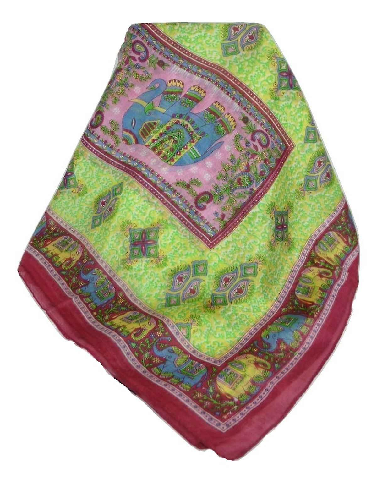 Classic Paisley Long Scarf Mulberry Silk Golla Hibiscus by Pashmina & Silk