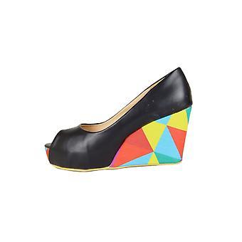 LMS sort Peep Toe kile med farverige geometriske Print på hælen
