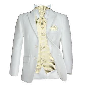 Boys Formal 5PC Wedding Prom Pageboy Suit in Cream & Gold
