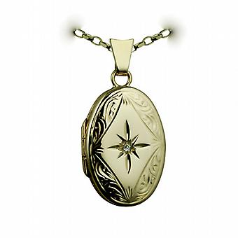 9ct or ovale de bord gravé de main set du diamant 22x15mm médaillon avec un belcher Chain 24 pouces