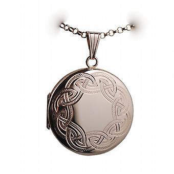 Oro 9ct Rose 29mm Celtic engraved Locket rotondo con un pollice di belcher catena 24