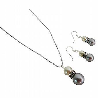 Schöne wunderbare Schmuck-Creme & Silber grau Halskette & Ohrringe Set