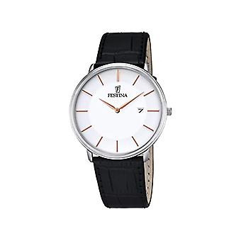Quartz homme bracelet montre noir en cuir et cadran noir analogique affichent Festina F6839/3