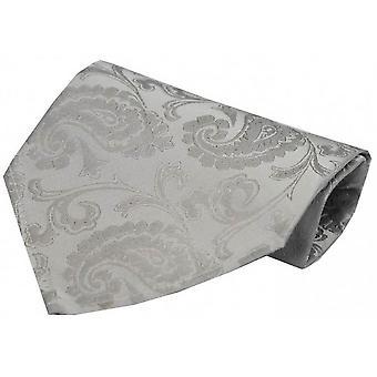 David Van Hagen Luxury Paisley Silk Handkerchief - Silver